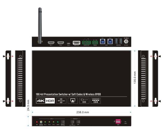 Презентационный Wi-Fi коммутатор AV-BOX SCU41-BYOD — фото 3
